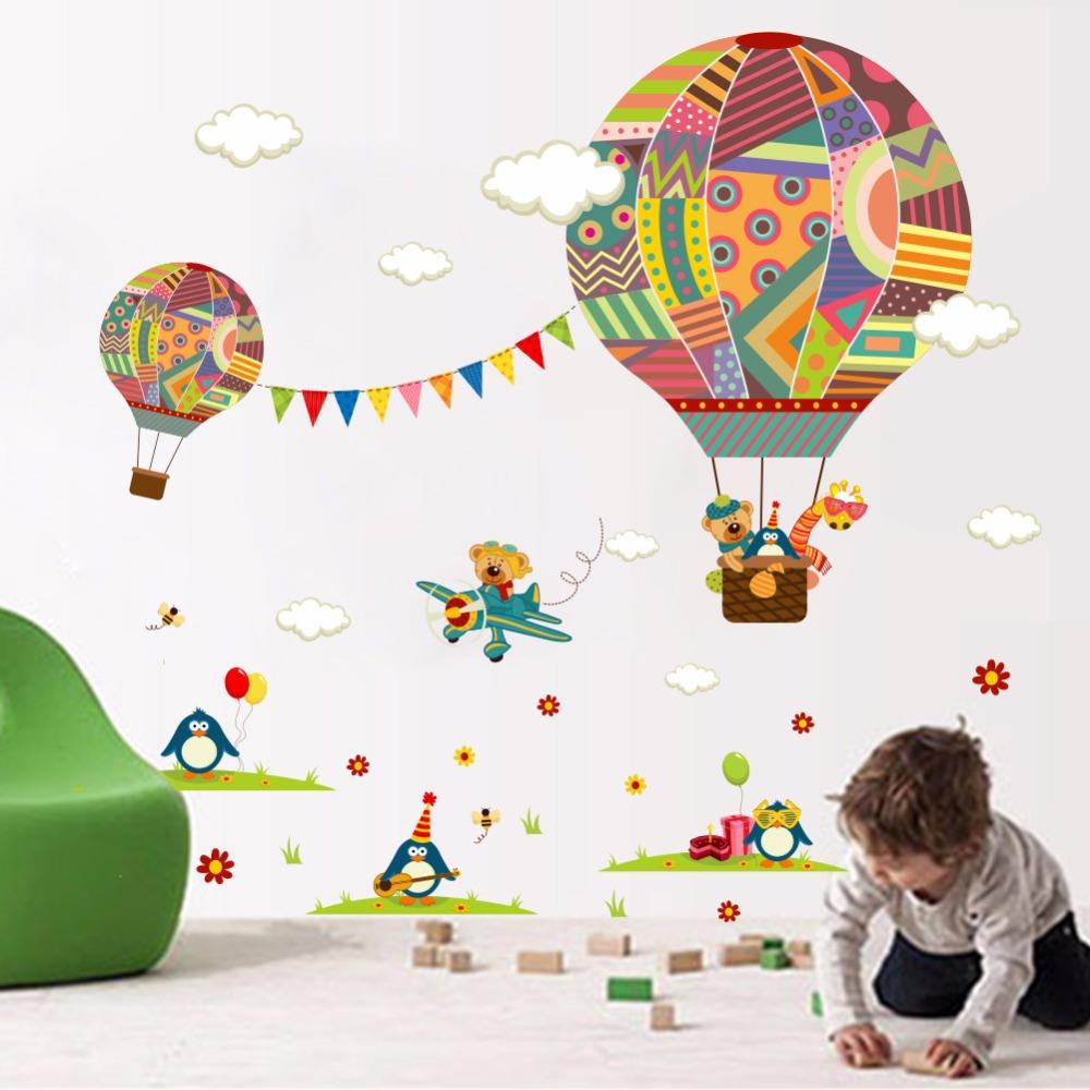 3D papier peint de bande dessinée mignon ballon à air chaud wall sticker enfant chambre personnalité Creative chambre salon peintures murales décoratives
