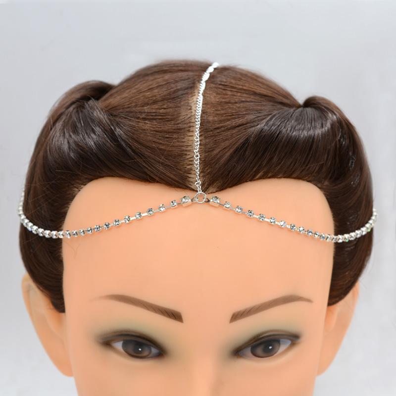Metal Chain Jewelry Headband Silver Hair Band Tassel