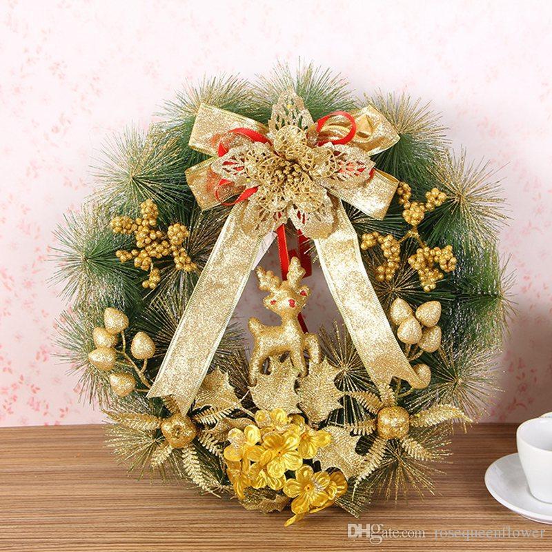 1pc su misura della corona di natale porta decorazione artificiale Schiuma Berry corona con naturale Pigna Pendente decorazione della parete di Corona