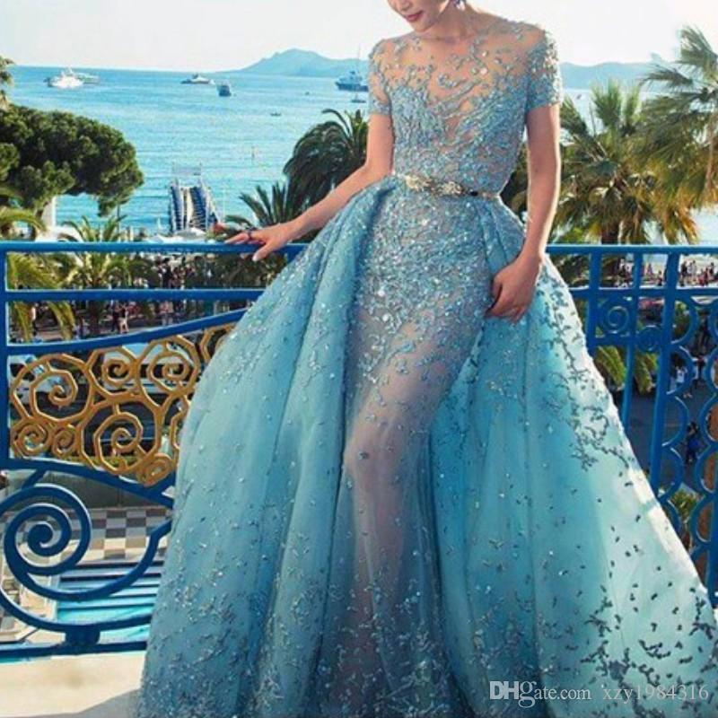 Vestido de noite azul fascinante com overskirt laço de cristal applique jóia pescoço de manga curta vestido de noite sexy ver através de vestidos de baile
