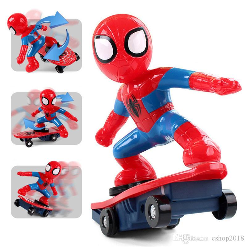 Cool Never Fall Down RC Skateboard Spiderman Scooter Genuine Light Sound Toys Flash Cool Electronic Electric Toy For Kids toys Gift Party
