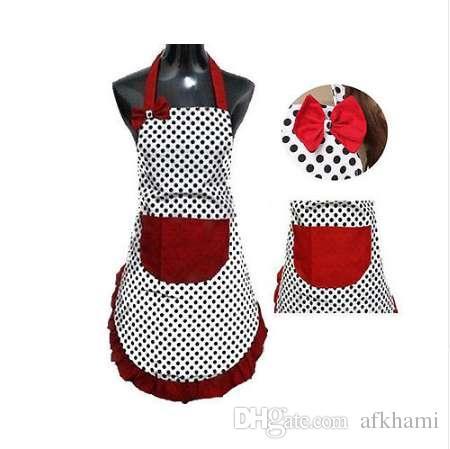 New Cute Bib Schürze Kleid Vintage Küche Frauen Bowknot mit Tasche Geschenk
