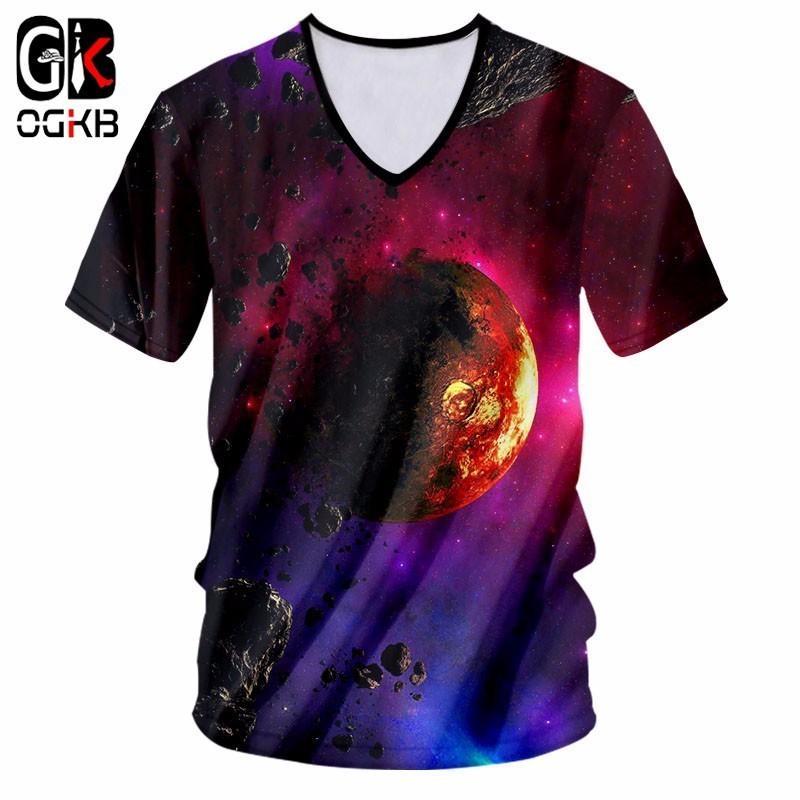 OGKB 3D Space Planet Imprimé T-shirts Hommes / Femmes Plus La Taille 7XL T-shirt Causal Avec V Cou Unisexe Imprimer Vêtements Chemise Dropshipping
