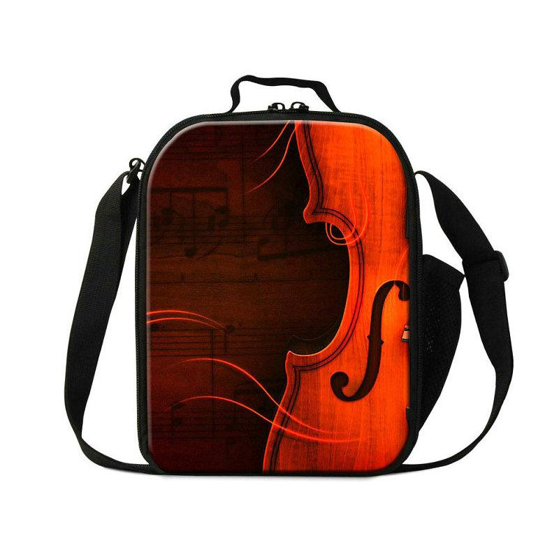 New Portable Thermal Lunch Bags For Children Violin Design Women Insulated Cooler Bag Musical Note Small Lancheira Students School Lunchbox
