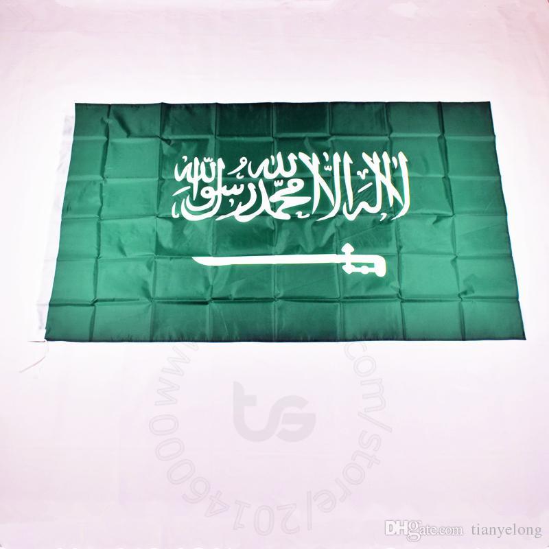 사우디 아라비아 국기 룸 매달려 장식 무료 배송 3X5 FT / 90 * 150cm 매달려 국기 사우디 아라비아 홈 장식 배너