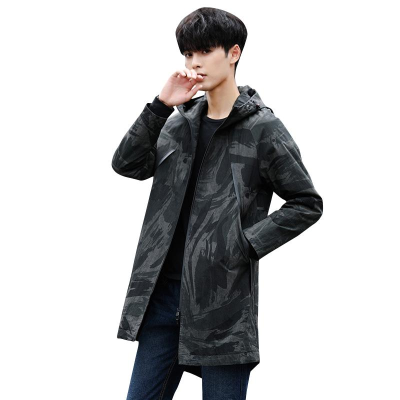 BROWON 2018 Brand New Autumn Winter Mens Trench Coat Jacket Camouflage Pattern Regular Fit Windbreakers Plus Size 4XL