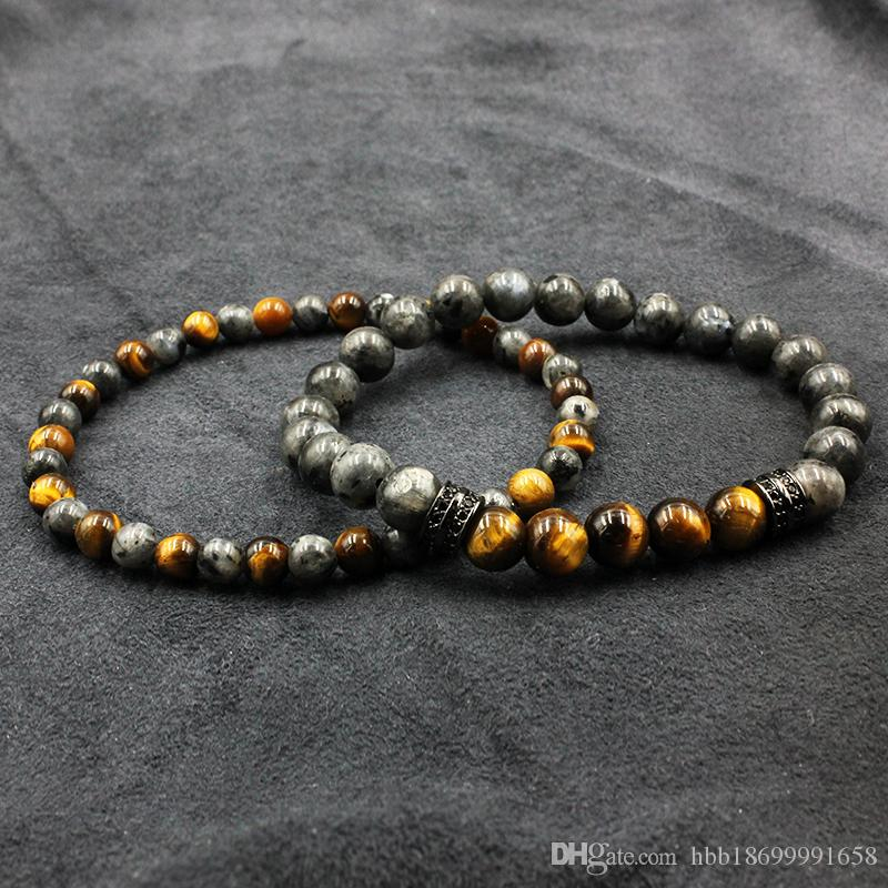 2pc/set Tiger Eye Stone Beads Bracelet Buddha Charm Bracelets & Bangle Mew Men Labradorite Stone Micro inlay zircon
