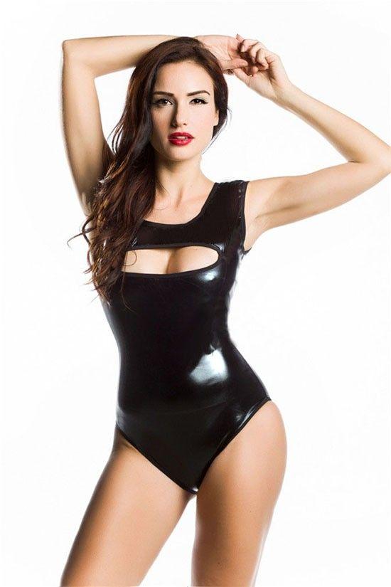 Neu kommen Shiny Latex Wet Look Tank Bodysuit ärmel für Frauen Strampler Out Overall Sexy Overalls höhlen