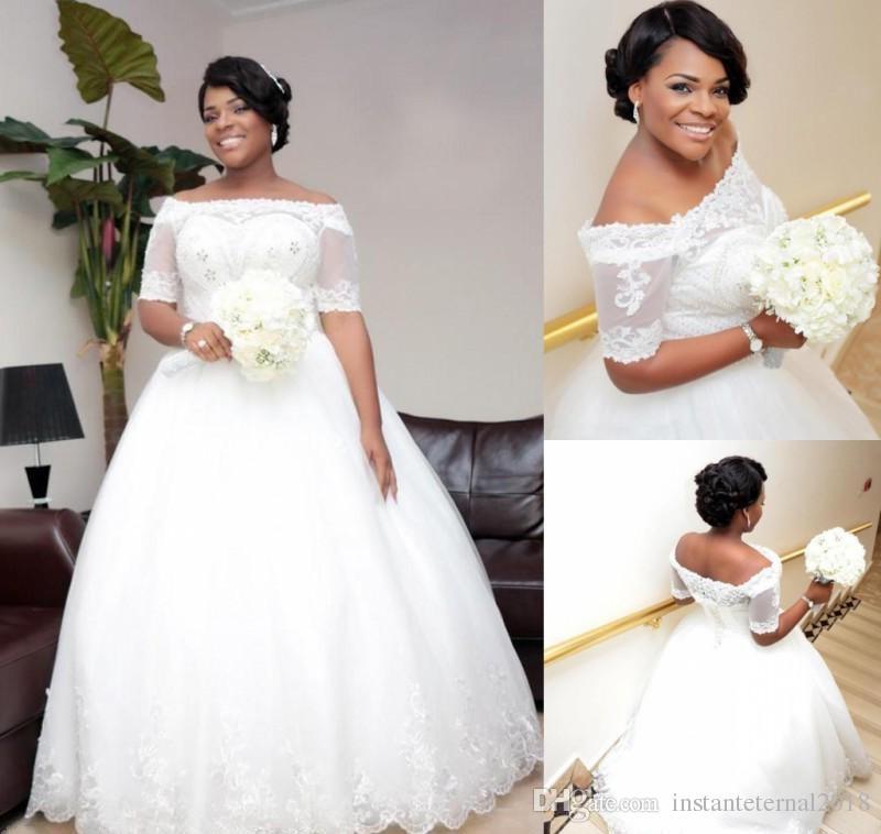Нигерия Кружева с платья на плечах Свадебные платья с вышивкой из бисера с вышивкой из бисера плюс размер Свадебные платья Линия Африканские свадебные вестидо