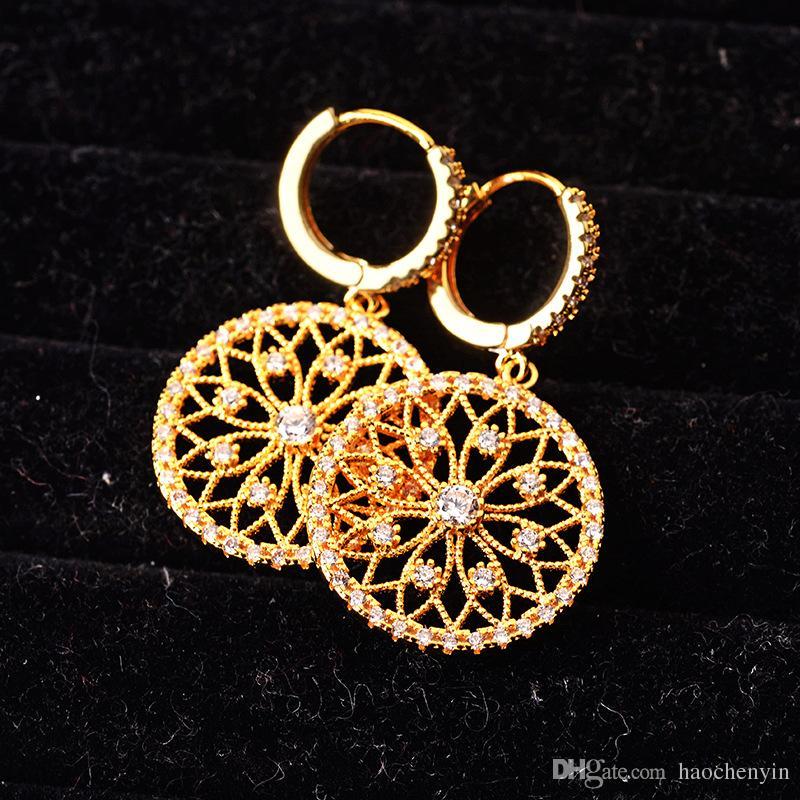 Pendiente de la boda de lujo 18 K chapado en oro de moda delicado Zircon redondo mujeres pendientes marca joyería venta al por mayor