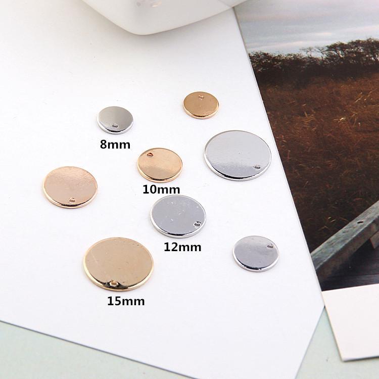 10 PCS / lot 8/10/12 / 15mm KC or / blanc k couleur pendentifs en cuivre de cuivre rond en laiton ton tampon estampage tag DIY Résultats de bijoux