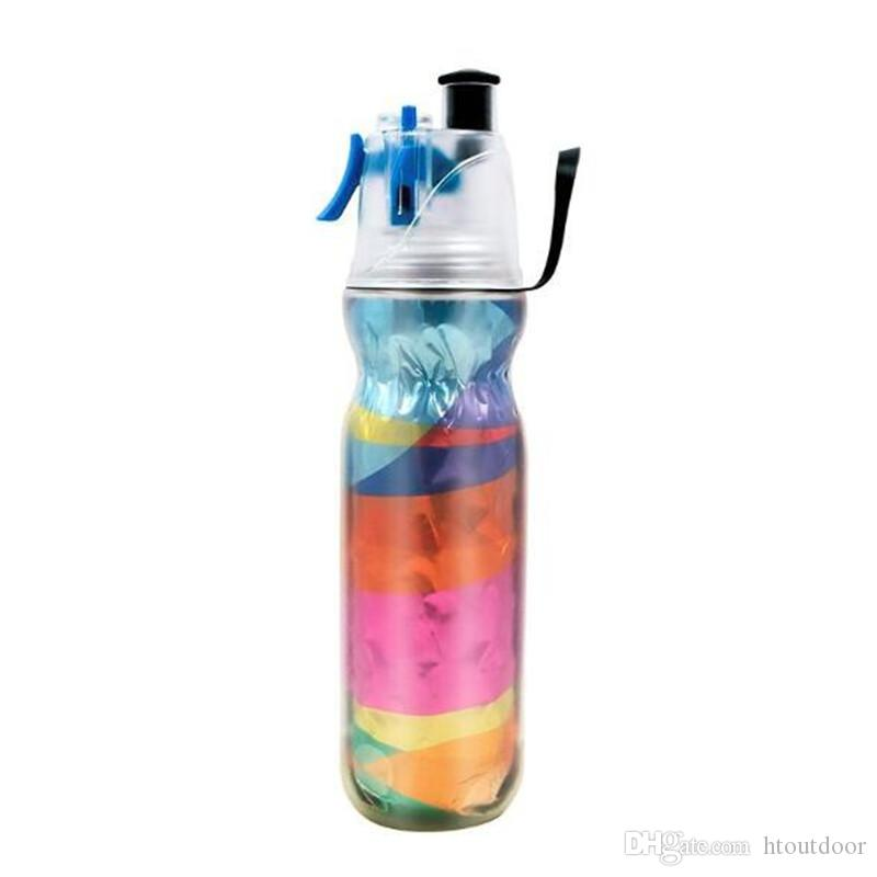 590ml Drinking Spraying Bottle Outdoor Camping Gym Sports Double Layer Sip And Mist Spray Water Bottle For Summer Cooling