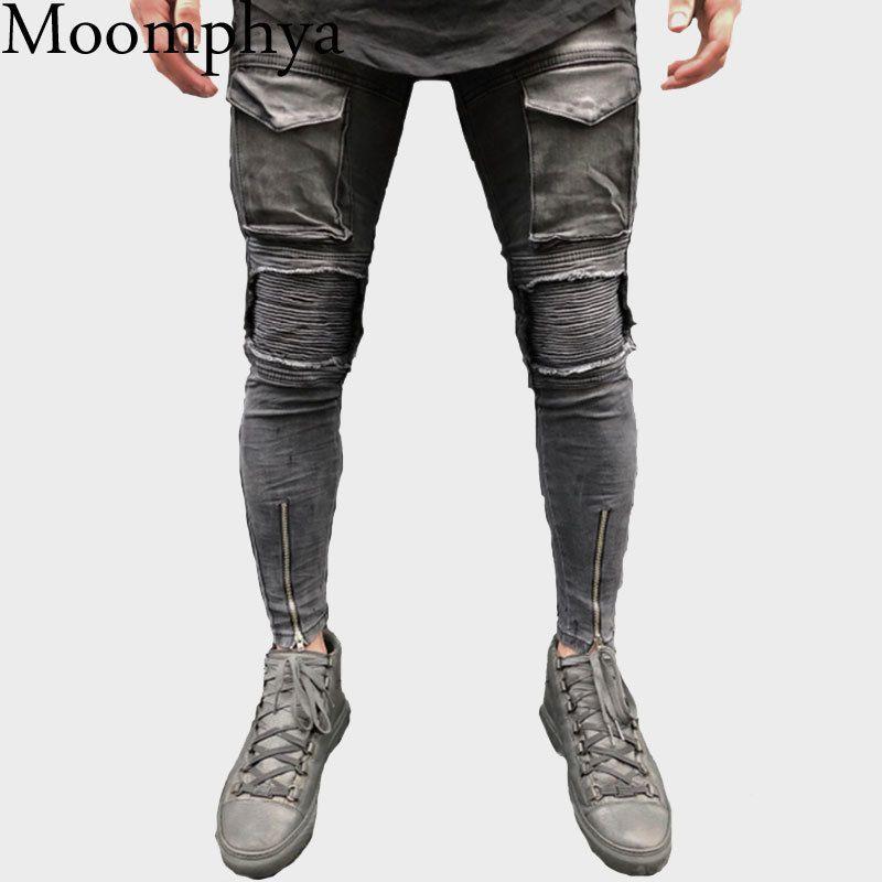 2018 New Arrived Men big pocket slim jeans Distressed Ripped pactchwork skinny jeans Men skinny biker streetwear
