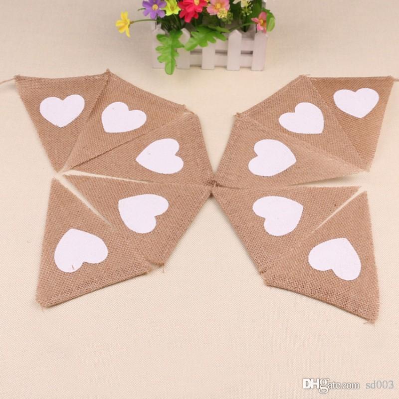 Rustique Jute Fanions Brun Triangle Forme Chaîne Drapeaux Amour Coeur Imprimer Décorations De Mariage Motif Jardin Suspendu Bannière 6 8dl ZZ