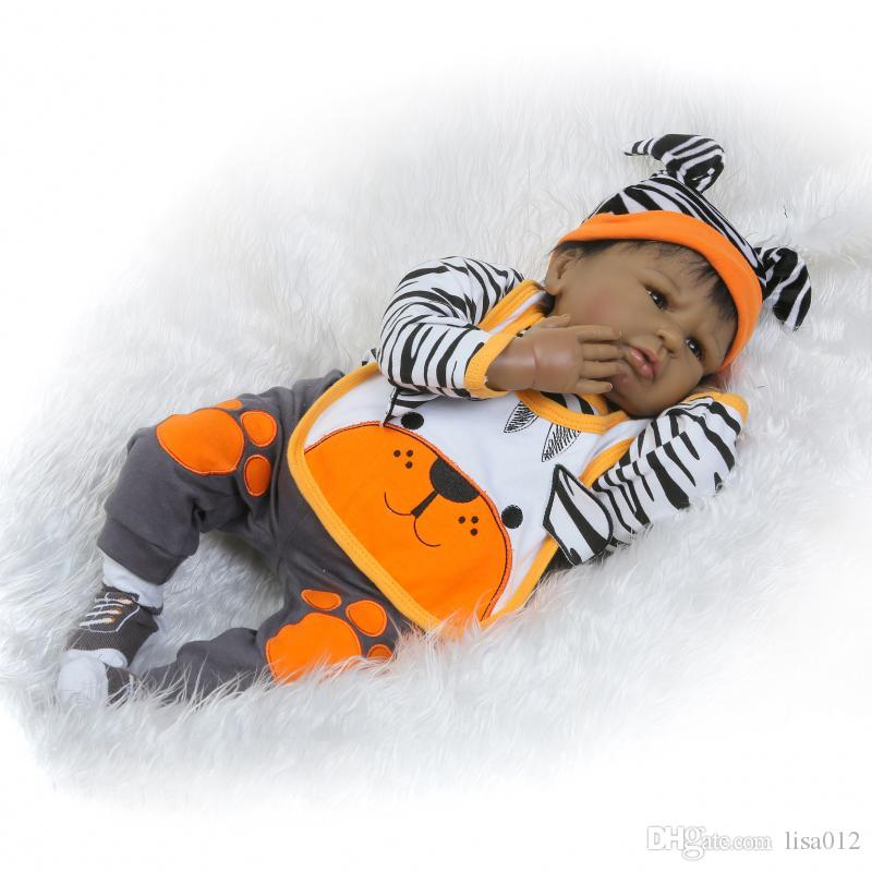"""Reborn babies 22 """"Афроамериканец Кукла Черный Мягкий Винил Силикон Reborn Baby Doll Bebe Reborn Реалистичные Новорожденные Куклы Игрушки"""