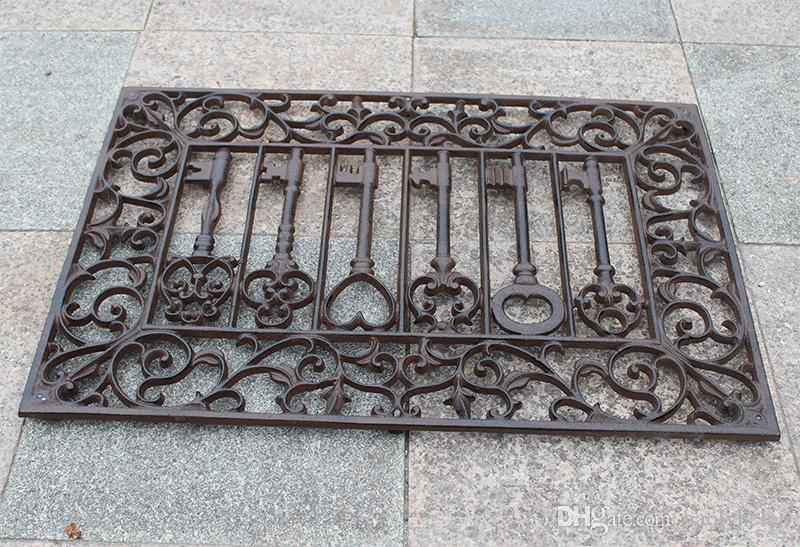 Ferro Fundido Capacho Retângulo Velho Teclas Scrolled Mat Porta Acabamento Antigo Porta Decorativa Tapete de Metal Artesanato Quintal Do Pátio Decoração Do Vintage