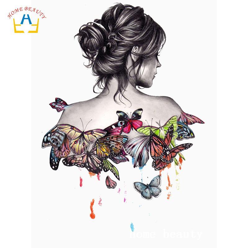 3 차원 DIY 다이아몬드 페인팅 나비 여성 사진 부엌 벽 집 장식 전체 드릴 수지 다이아몬드 자수 AC363