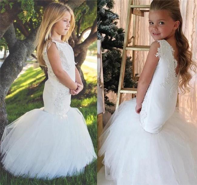 Lovely white Lace Mermaid Flower Girls Dresses for Weddings floor length Capped Sleeves Kids Wedding Dress Pageant Gowns for Little Girls
