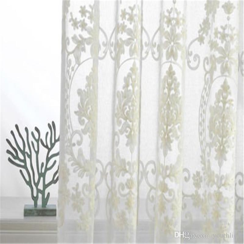 Victorian Damask Floral Embroidered White Sheer Curtains Ainest Custom French Country Pinch Pleat Panel 140*214 Home Supplies Hot Sale