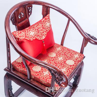 Vintage Floral Thick Seat Cushion Cover Chair Seat gap Pad Chinese Silk Chair Cushions Sofa Seat Mat Xmas Decorative Lumbar Pillow