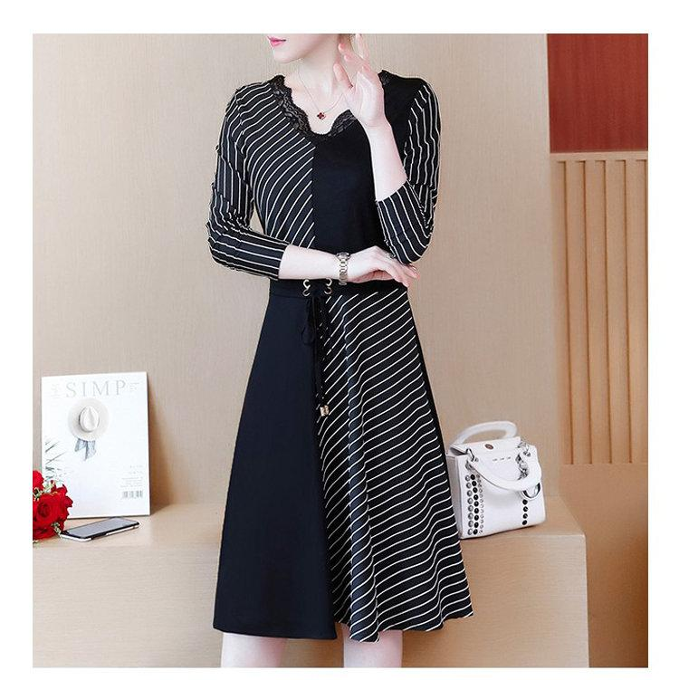2019 Korean Fashion Women Dress Autumn Large Size Dresses Striped Patchwork Dress Ladies Lace V-Neck Long Sleeve Vestidos Robe Femme (5)