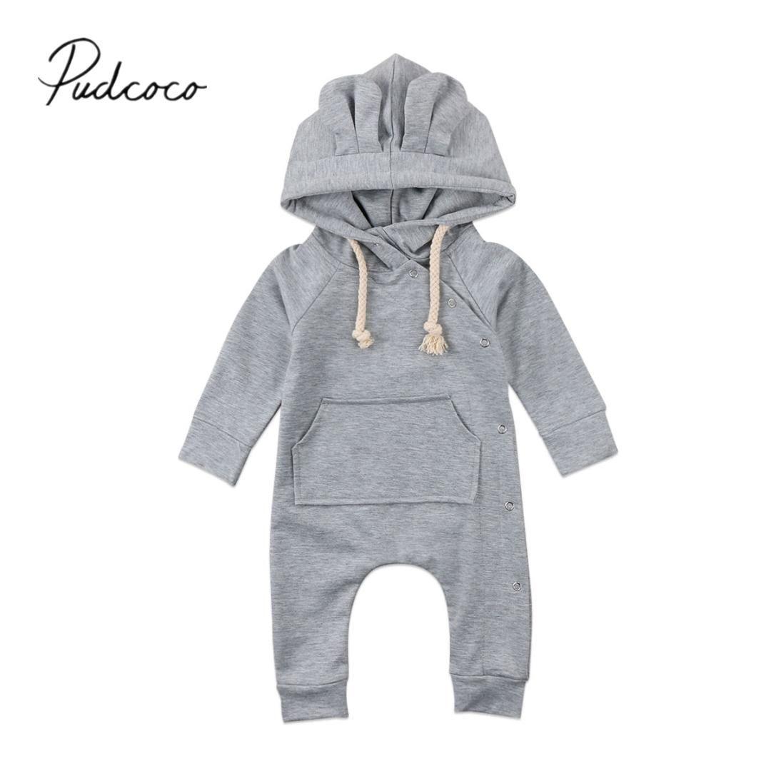 2018 Nuovo Neonato infantili neonata maschi incappucciato del pagliaccetto Tuta Tuta a maniche lunghe Abbigliamento Piccolo Orecchio caldi Outfits