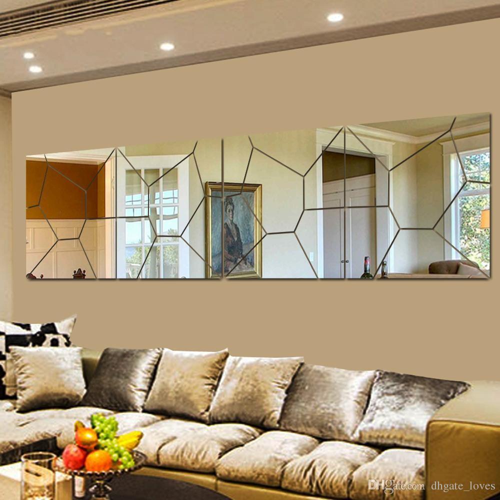 Diy 3d Acrylic Modern Mirror Decal Art Mural Wall Sticker Home