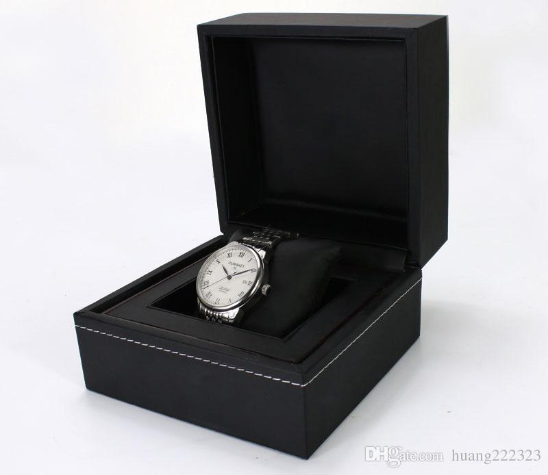 Boîtes de montres de mode Boîtier de montre carrée en papier noir TAG avec boîte de rangement pour oreiller de bijoux, boîte de montre Watch Booklet Tags And Papers In Eng