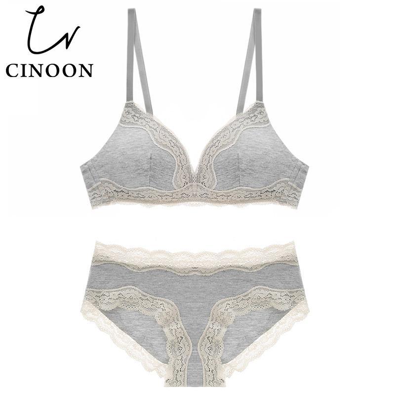 CINOON Sexy lingerie Set reggiseno in cotone Push up Intimo donna intimo reggiseno e slip Confortevole set lingerie femminile