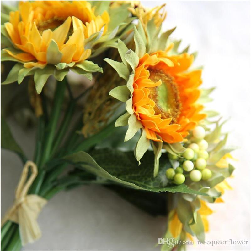 Girasoles artificiales 5 cabezas de belleza falso girasol Artificial Seda Flor Bouquet Inicio Boda Floral Decoración Envío de la gota