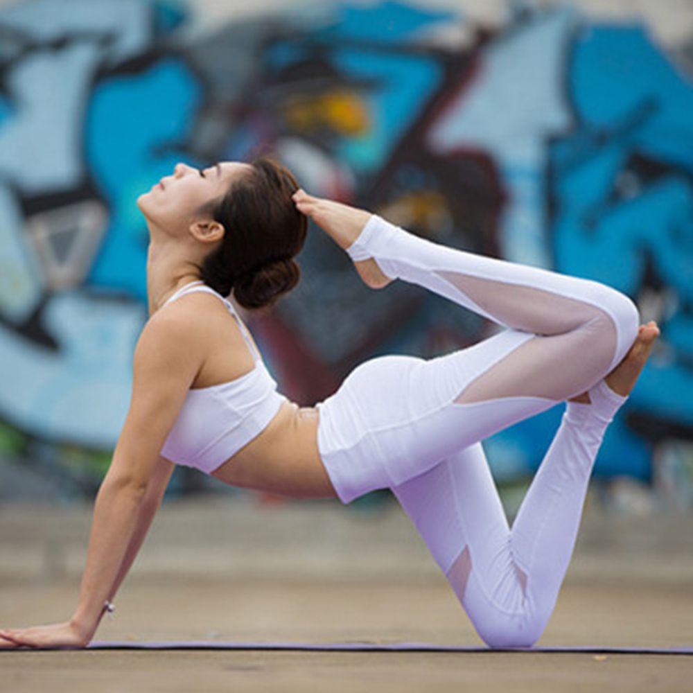 Pantalones de yoga de cintura alta de malla Patchwork atar las polainas flacas Superposición de estribo Fitness pantalones de baile de las polainas FS5784