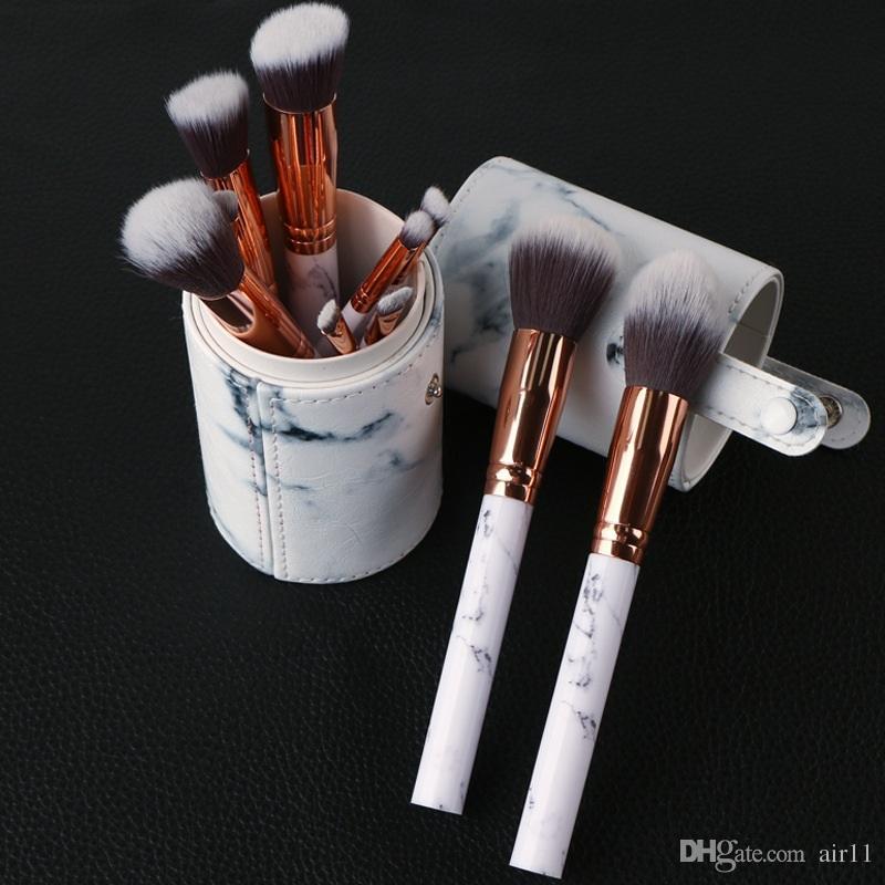 Date Chaude Vente 10 pcs Marbre Maquillage Brosse Professionnel Maquillage Brosses Fondation BB Crème Hiqh Qualité Avec PU Seau livraison gratuite