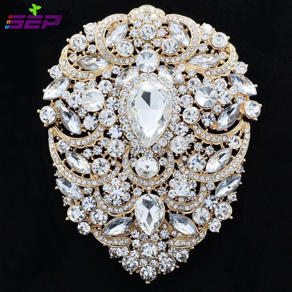 كبيرة دبابيس الزفاف مجوهرات الزفاف 4.9 بوصة الكريستال حجر الراين المرأة والاكسسوارات والمجوهرات 4045