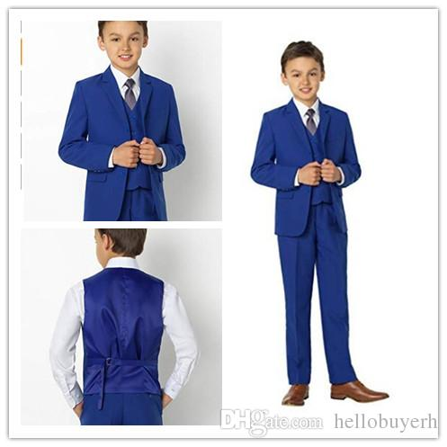 Handsome High Qulaity Three Pieces Boy (Jacket+Pant+Vest) SUit Kids Wedding Suits In Stock Boys Formal Tuxedos For Sale Online