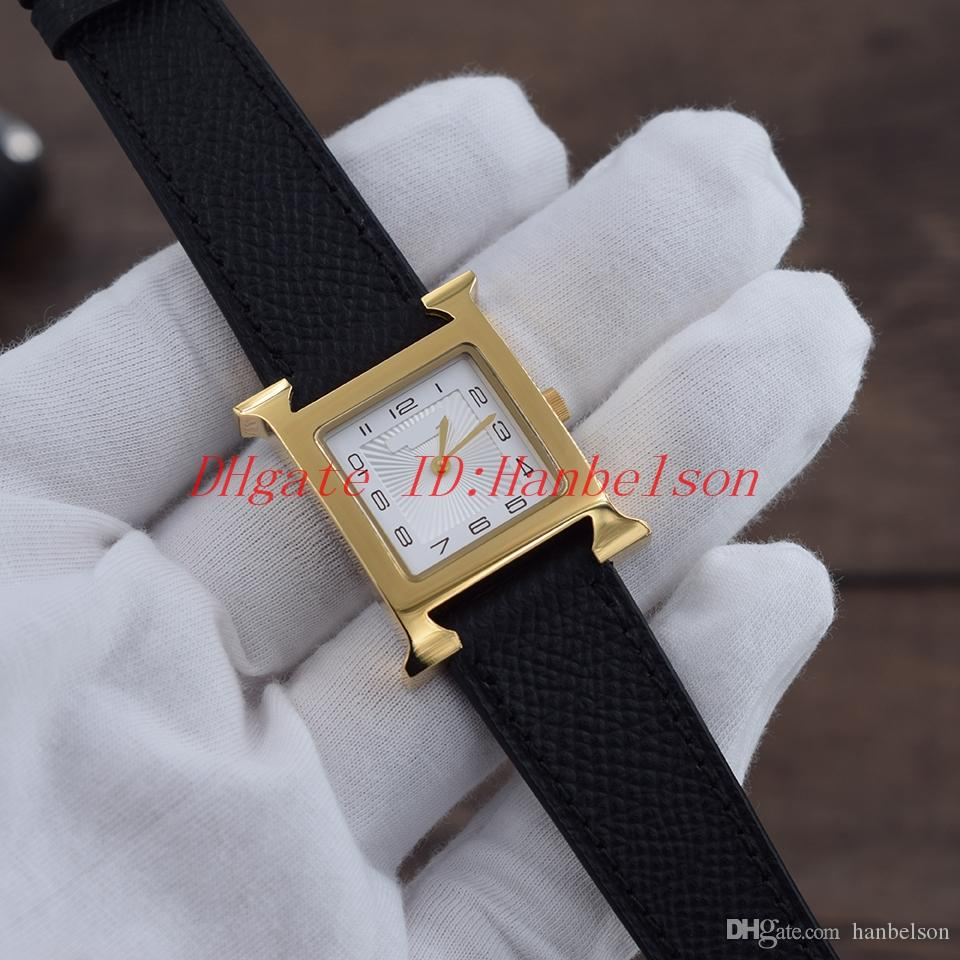 New Montre Women Watch Watch Square Golden Steel Shell Black Cuero Strap Blanco Dial Dos manos Movimiento de cuarzo Ladies Wristwatch 26mm