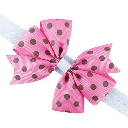 2 pezzi Neonati adorabili bambini della fascia della fascia infantile del bambino Bowknot Dot Ribbon Bow Hairband Fascia per capelli Accessori per capelli fascia