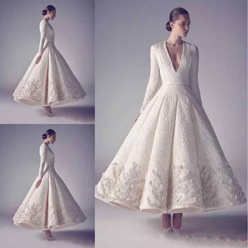 Ashi Studio Evening Prom Dresses Pure White 2019 Hot Sale Long Sleeve Deep V Neck Lace Beading Appliqued tea-length occasion dress