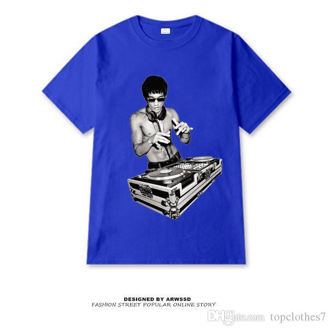 Verão Homem Marca de Verão Mens Casual T Camisa Única Camisetas Curto Bruce Lee Tripulação Pescoço Moda Camisetas Para Homens