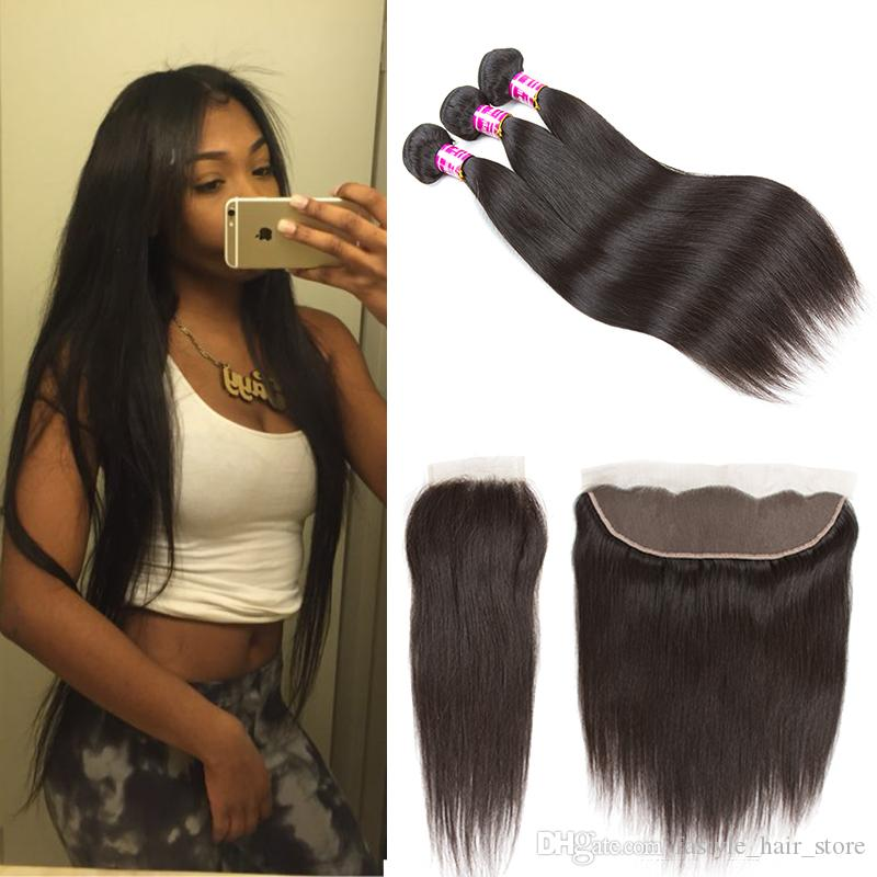 Raw Virgin Indian Human Hair Straight Bundles With Closure Frontal Unprocessed Brazilian Peruvian Remy Human Hair Cheap Hair Extensions