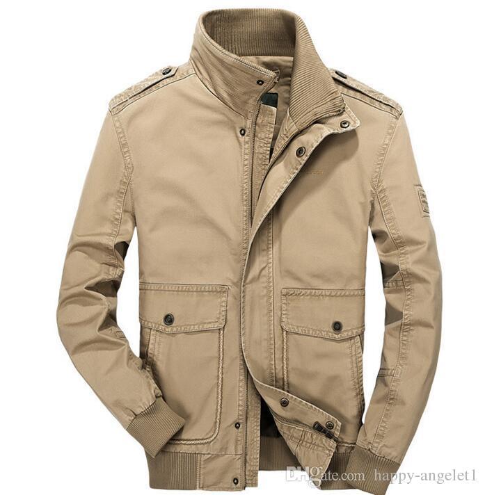 Новая весна осень человек военный повседневная мужчины куртка хлопок верхняя одежда стенд человек пальто размер M-5XL