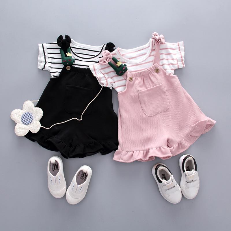 2 UNID Niño Ropa de Bebé establece Verano camiseta + Shorts de Correa niños Niñas Trajes de Ropa conjuntos