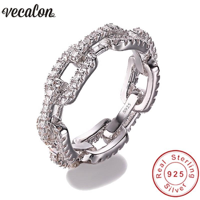 Vecalon joyería de lujo 100% Soild 925 anillo de plata esterlina 5A Zircon Cz forma de cadena de compromiso anillos de boda para las mujeres hombres S18101608