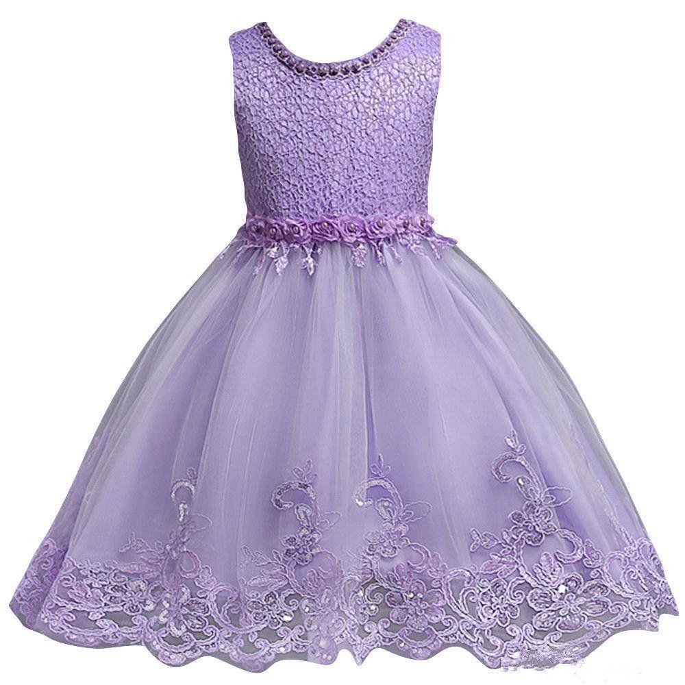 Cute Blue White Pink Jewel Neck Little Kids Flower Girl Dresses Princess Short Sleeveless Formal Wears for Weddings First Communion