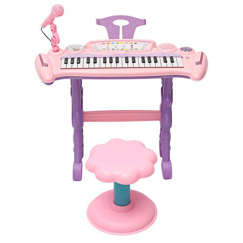 الوردي 37 مفتاح الاطفال الإلكترونية البيانو الجهاز لعبة / ميكروفون الموسيقى تلعب الاطفال التعليمية لعبة هدية للأطفال