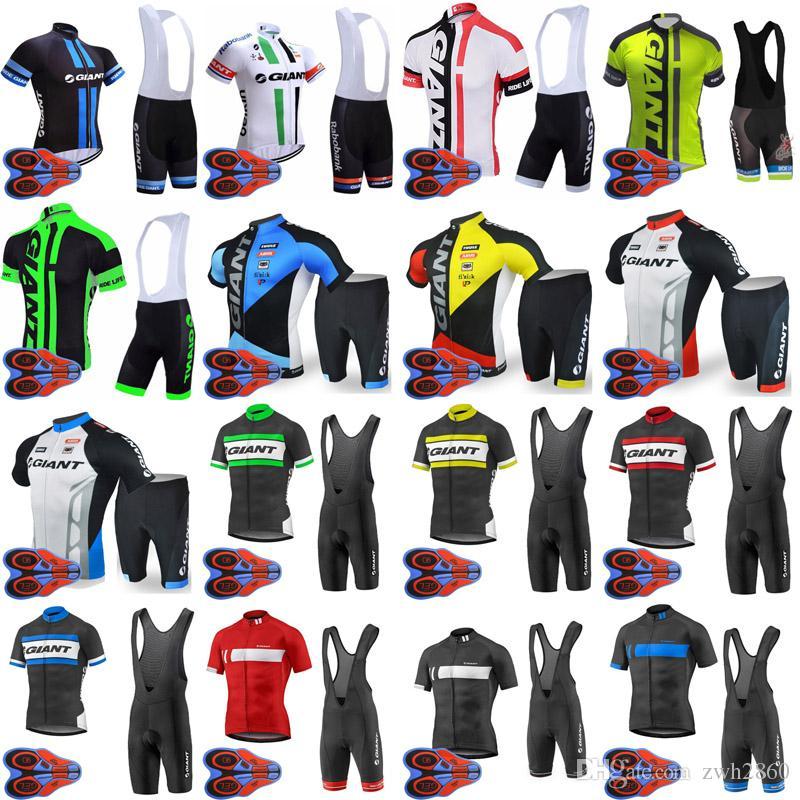 Al por mayor-GIANT equipo de ciclismo de manga corta jersey (babero) pantalones cortos establece 9D gel pad Top Brand Quality Bike sportwear D1627