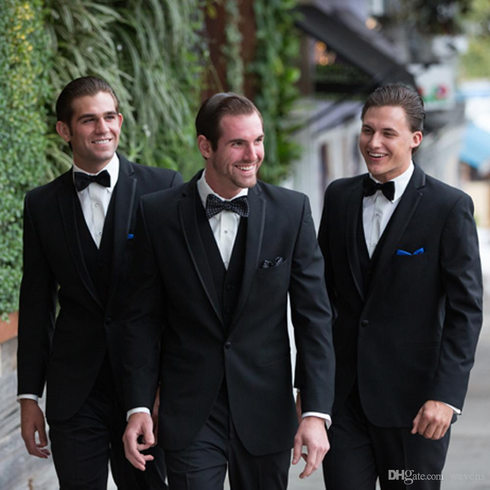 Vintage Preto Três Peças Clássicas Fit Groomsmen Ternos One Button Entalhado Lapela Vestido de Baile de Casamento Livre Azul Royal Lenço