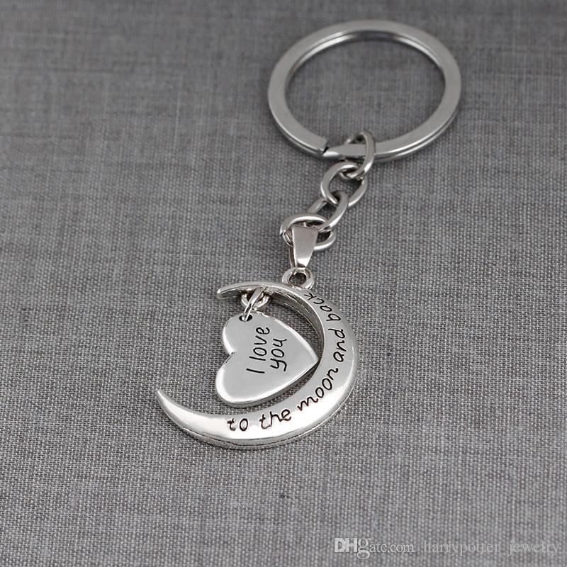 رسالة رئيسية حلقة القلب سلسلة المفاتيح أنا أحبك إلى القمر و حقيبة الظهر معلقة الأزياء والمجوهرات