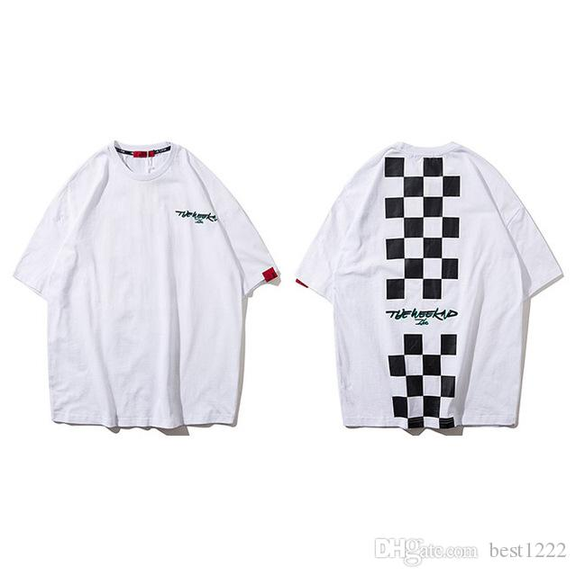 Le T-shirt Weeknd Plaid hommes Hip Hop lâche T-shirt en coton à manches moitié T-shirts Casual Hauts Streetwear T-shirt jaune d'été Nouveau