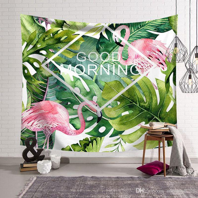 pink flamingo tapestry jungle tropical leaves wall hanging cloth decor modern dorm room tenture mural show piece carpet
