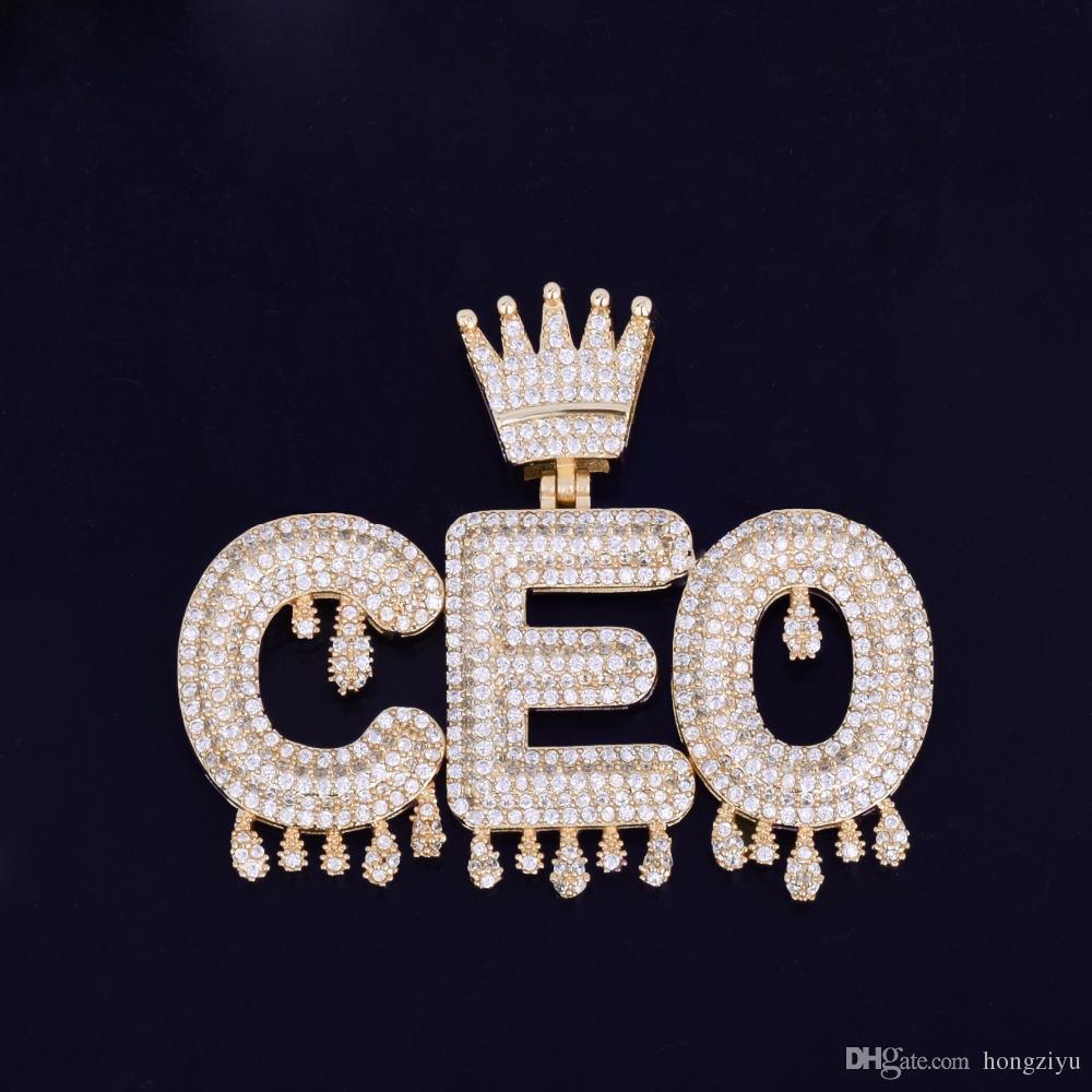 Con nome a Corona Bail cubico zircone gioielli Hip Hop Iniziali lettere pendente del gocciolamento lettere collane da uomo con la corda catena